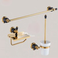 Luxury Black And Gold Bathroom Accessories Polished Brass ...