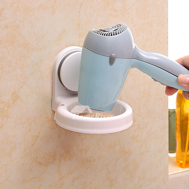 Suction Hair Dryer Holder White Plastic ABS Cheap Bathroom