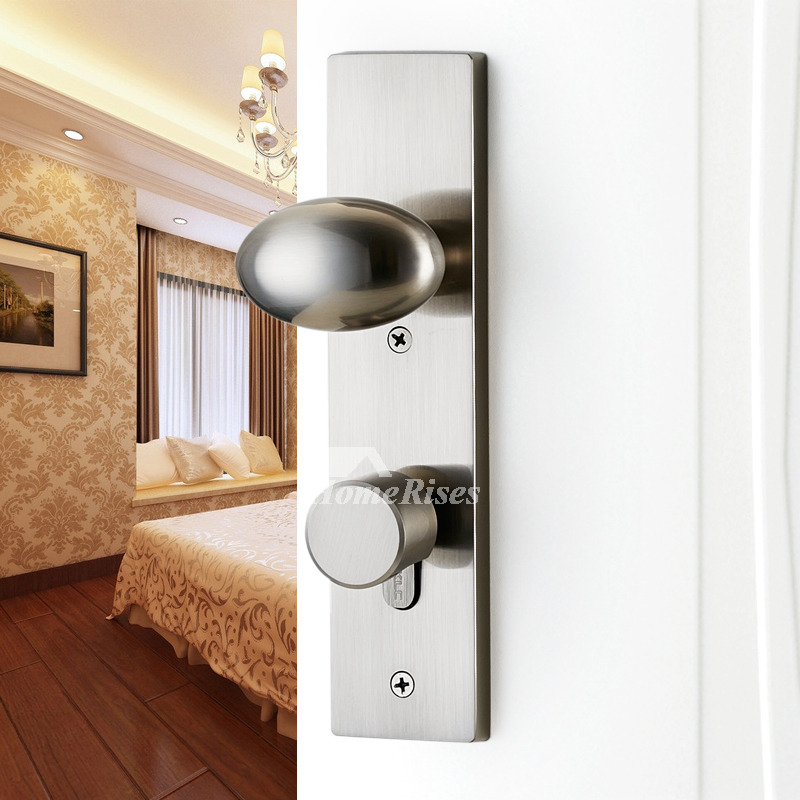 Brushed Nickel Door Handles Lock Without Key Brushed Silver