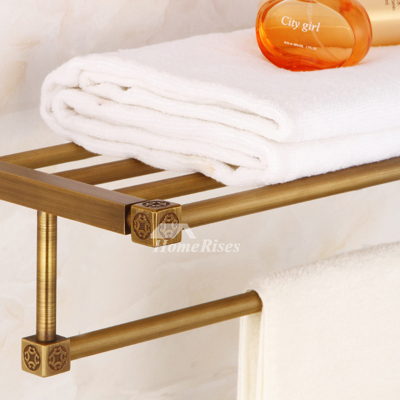 Antique Brass Towel Rack Gold Double Layer Bathroom Hotel