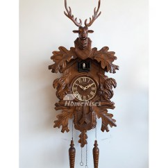Rustic Kitchen Clock Wooden Trash Bin For Antique Wall Clocks Antler Wood Carved Cuckoo Telling Time ...
