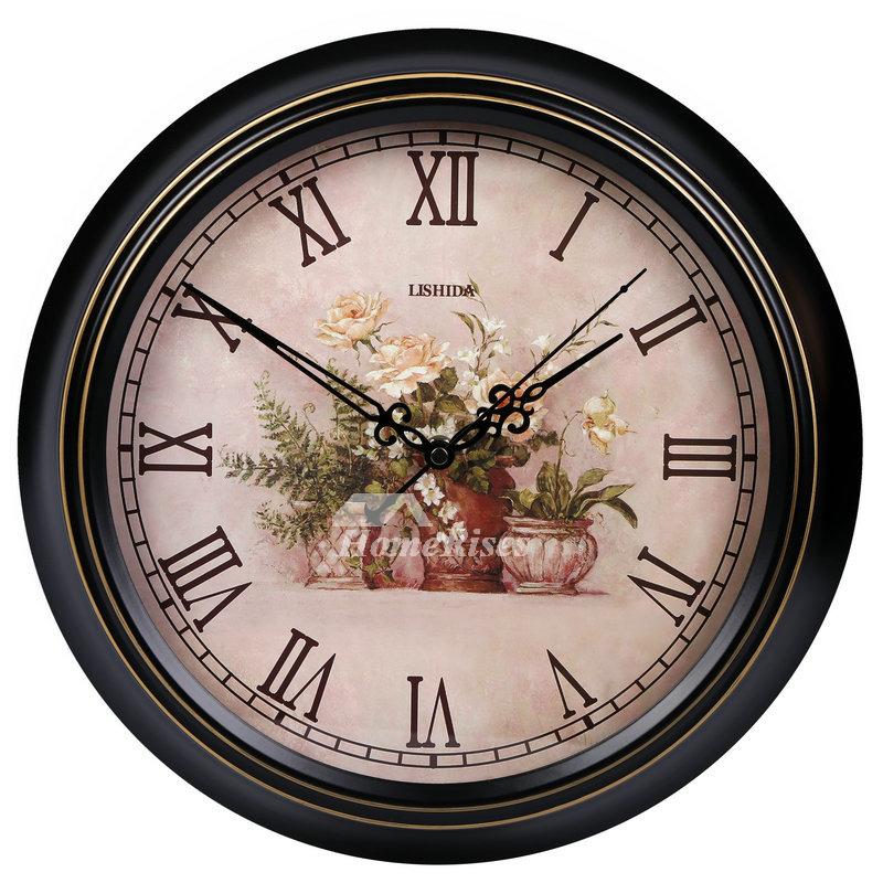 Bathroom Wall Clocks Round Decorative Silent Black Hanging