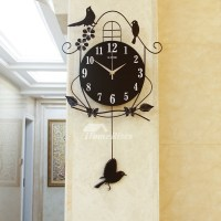 Decorative Wall Clocks Black Illuminated Pendulum Metal ...