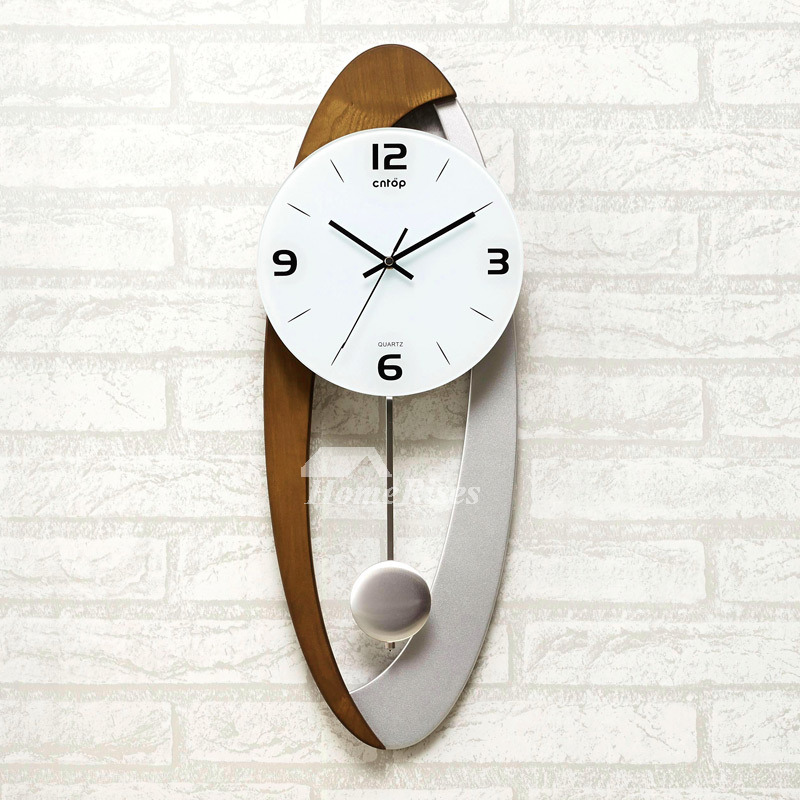 Modern Wall Clock Pendulum Carved Hanging Unique Oval Decorative