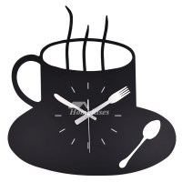 Wrought Iron Wall Clock Black Coffee Cup Hanging Funky ...