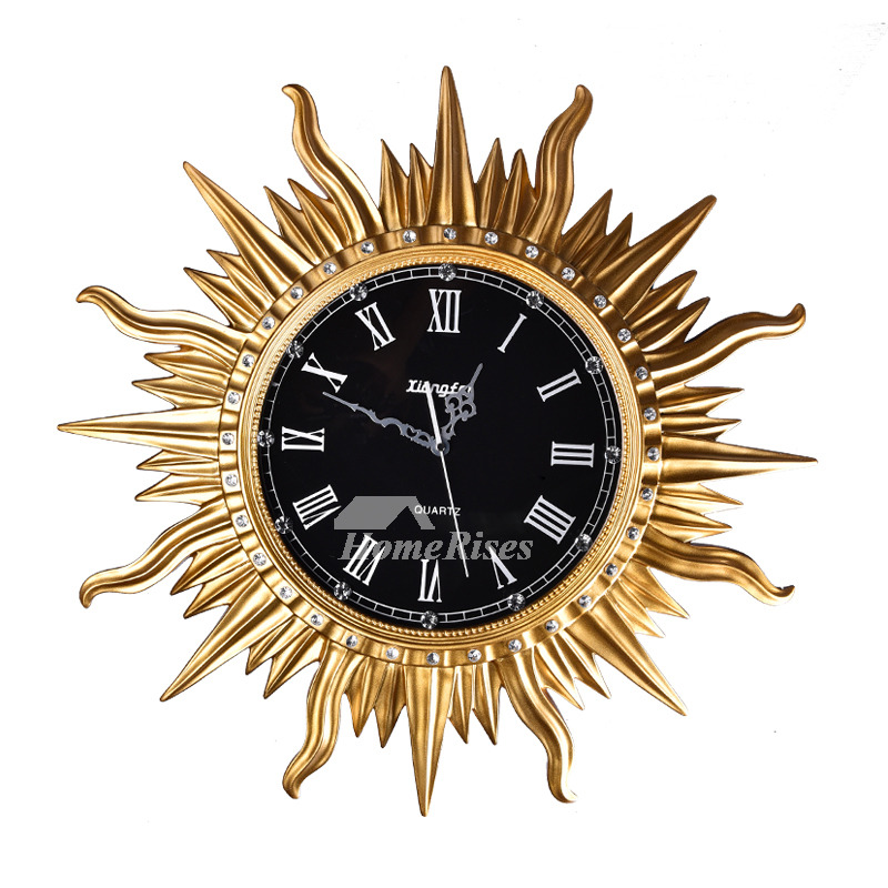 Art Deco Wall Clock Sun Round Cool Resin Silent Bedroom Unique