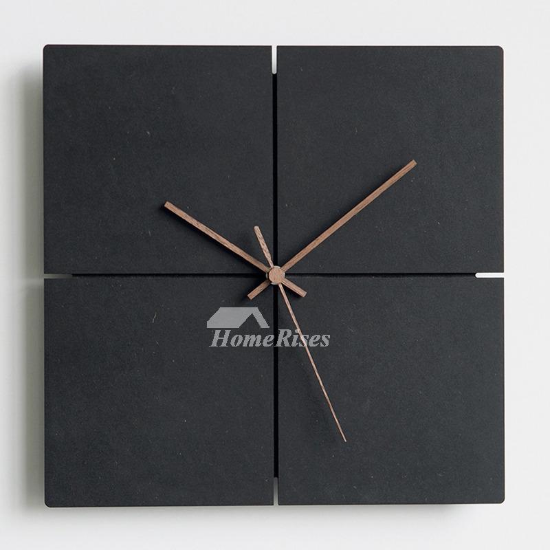 black wall clock wooden