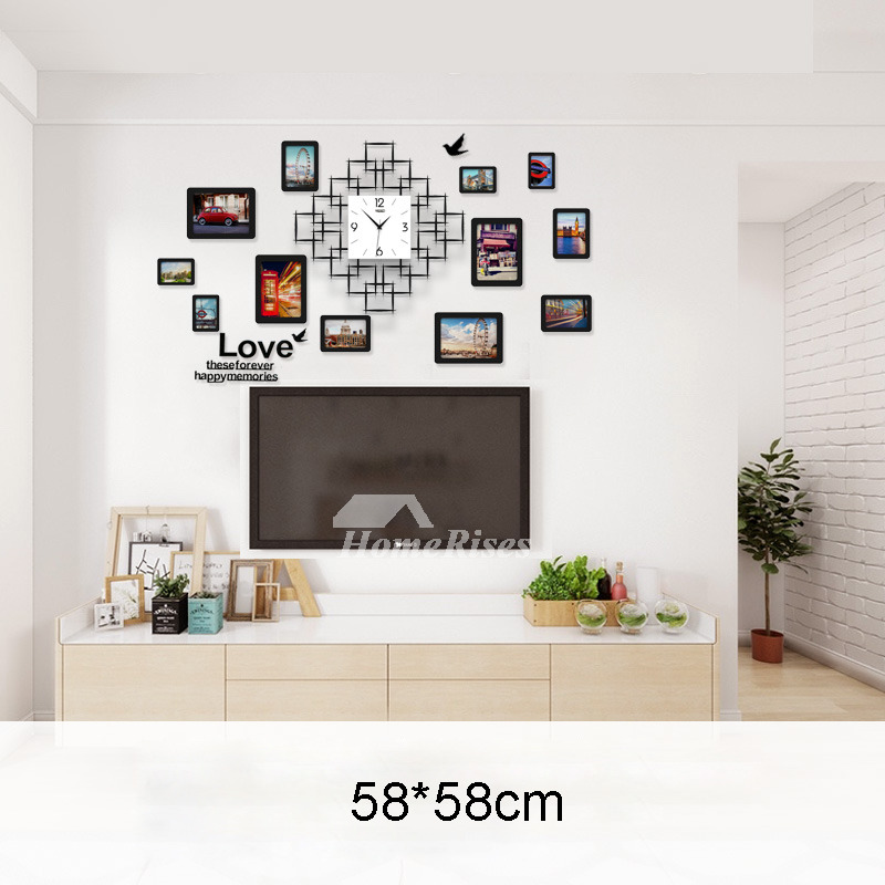 living room wall clocks sofa for a very small best acrylic hanging painting square silent
