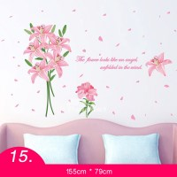 Flower Wall Stickers Grass/Letter For Living Room Self ...