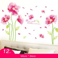 Bedroom Wall Decor Stickers Flower Pink Home Decor PVC ...