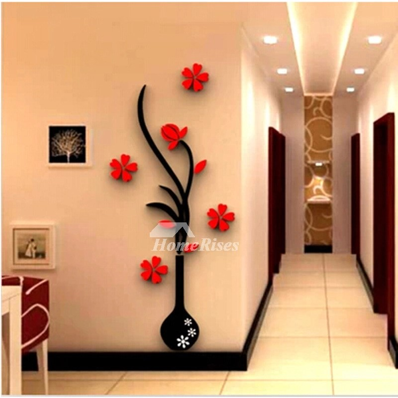 Large Wall Stickers Flower Self Adhesive Acrylic 3D Living
