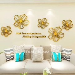 Large Kitchen Clocks Gold Faucets Flower Wall Decals Purple/yellow/white/blue/pink Acrylic ...