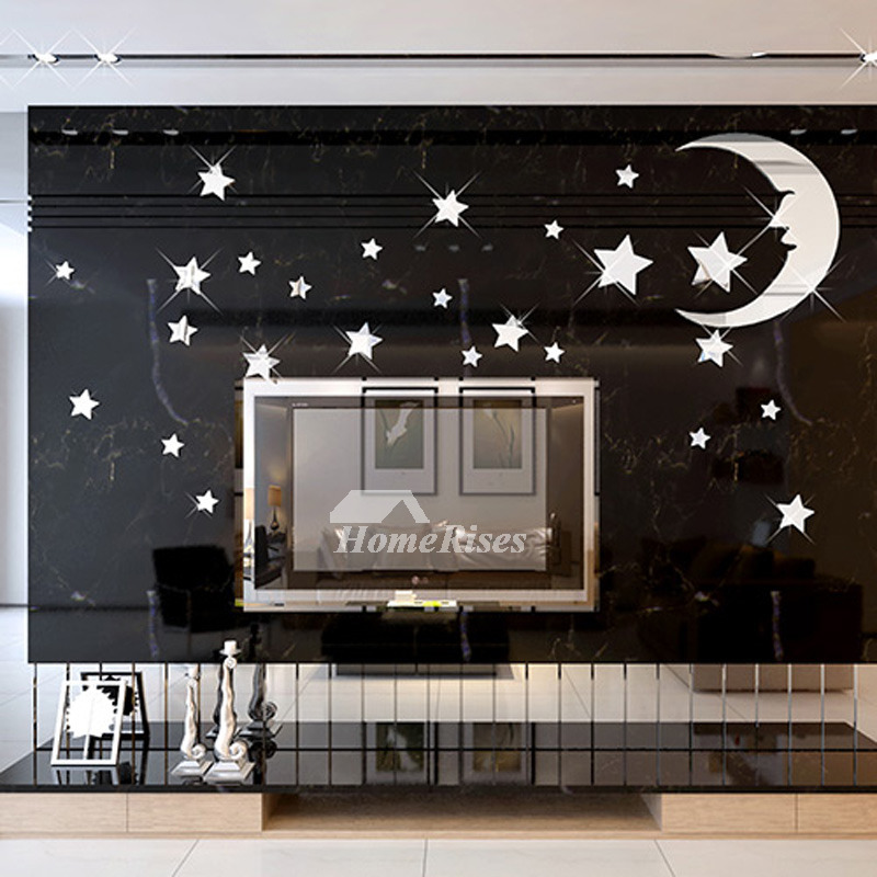 Star Wall Decals 3D Acrylic Moon Home Decor Living Room