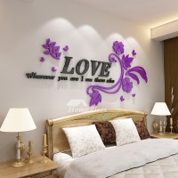 Flower Wall Decals Letter Pink/Purple Acrylic Living Room ...