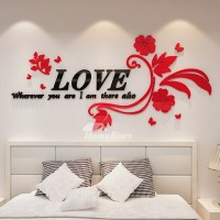 Wall Decals For Living Room Letter Flower Acrylic Home ...