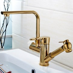 Gold Kitchen Faucet Cutting Board Countertop Single Hole Polished Brass Pull Out Rotatable