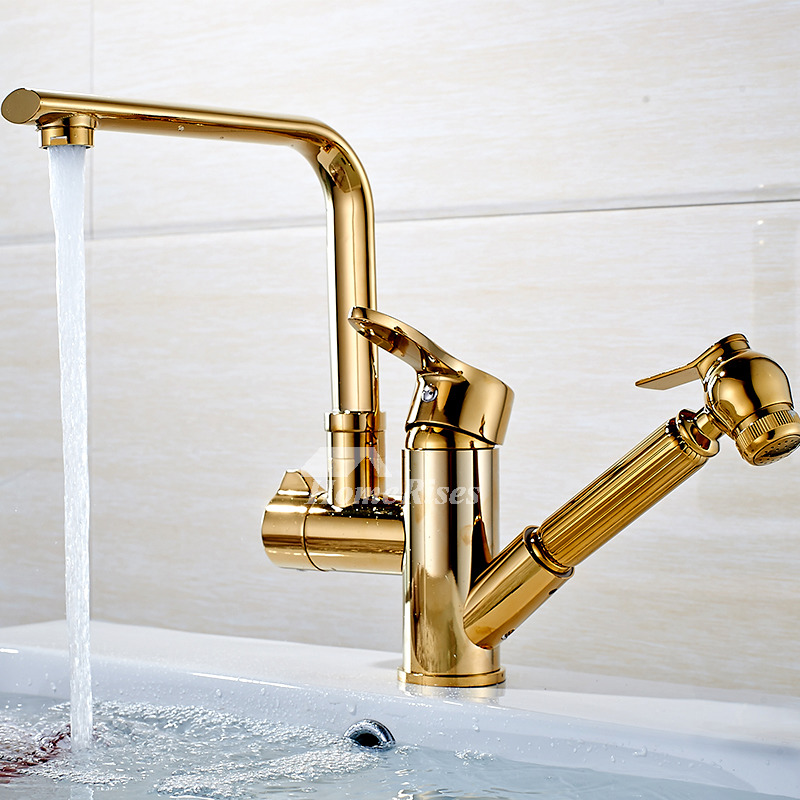 Gold Kitchen Faucet Single Hole Polished Brass Pull Out Rotatable