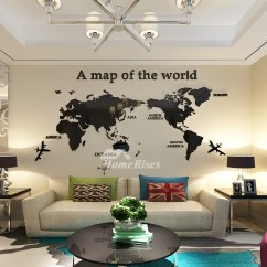 Kitchen Table Light Fixtures Simple Outdoor World Map Wall Decal 3d Acrylic Blue/red/black Decorative ...