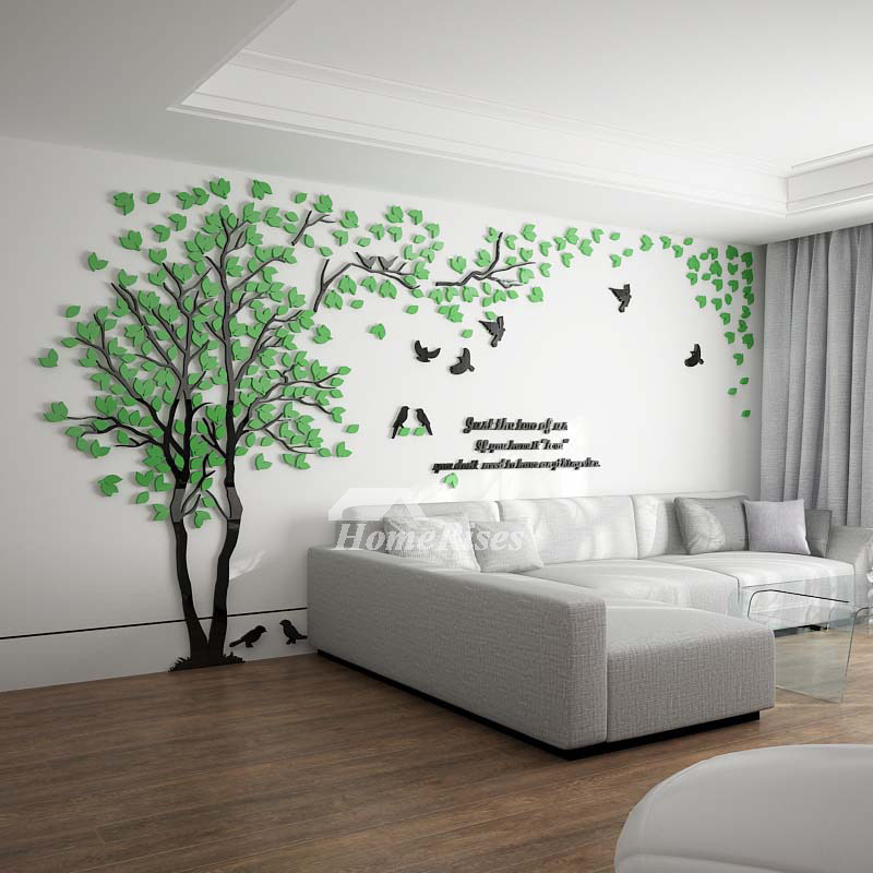 wall stickers living room best brown paint for tree decal 3d green yellow acrylic decorative pictures show