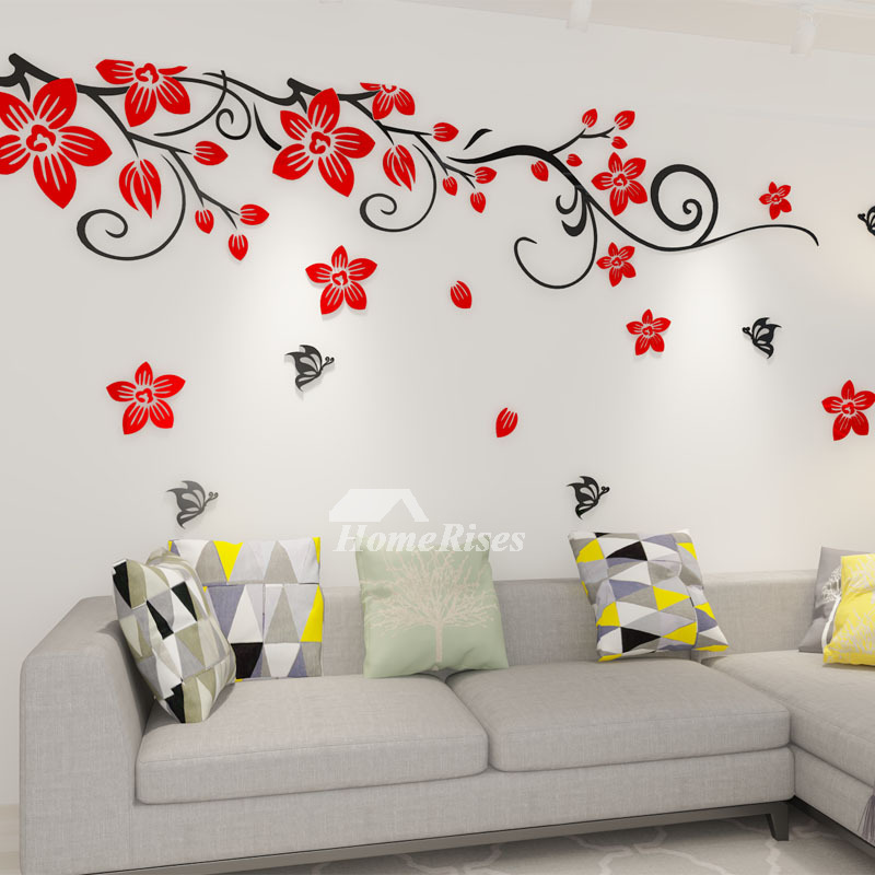 flower wall decals acrylic d self adhesive living room decorative