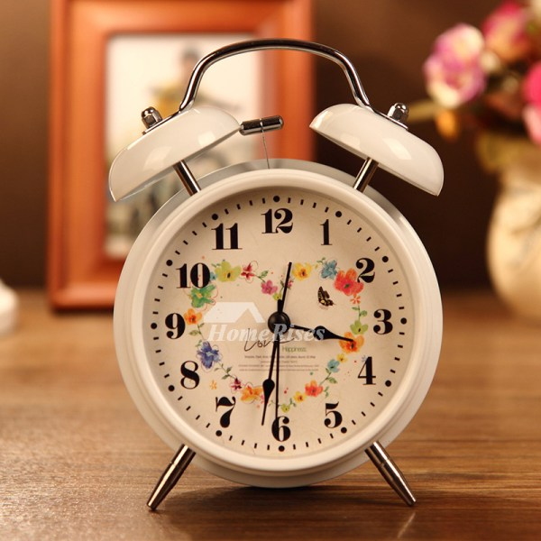 Small Alarm Clock White Black Metal Battery Operated Silent