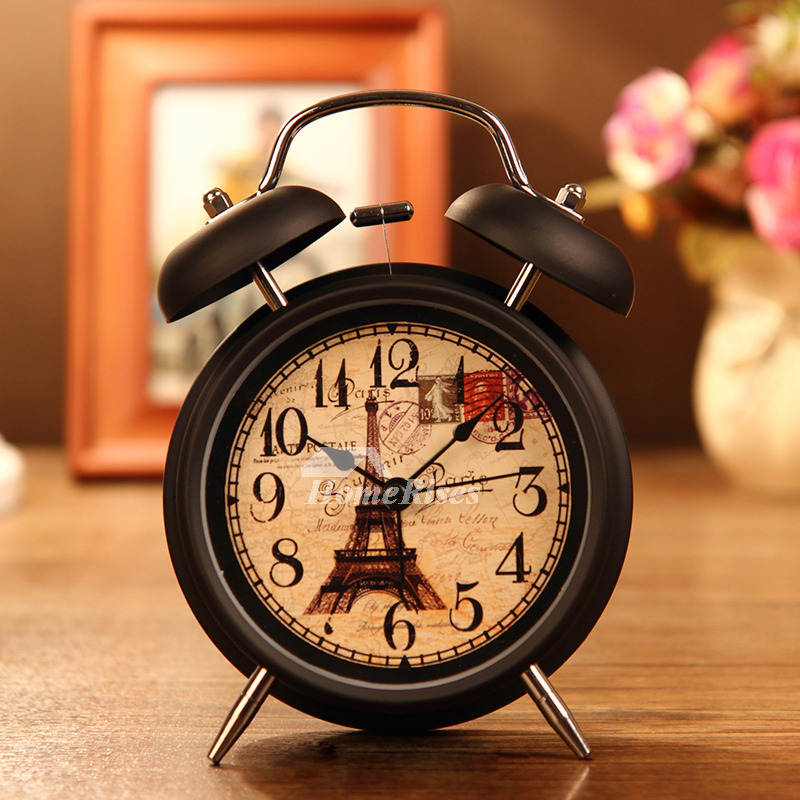 Small Alarm Clock WhiteBlack Metal Battery Operated