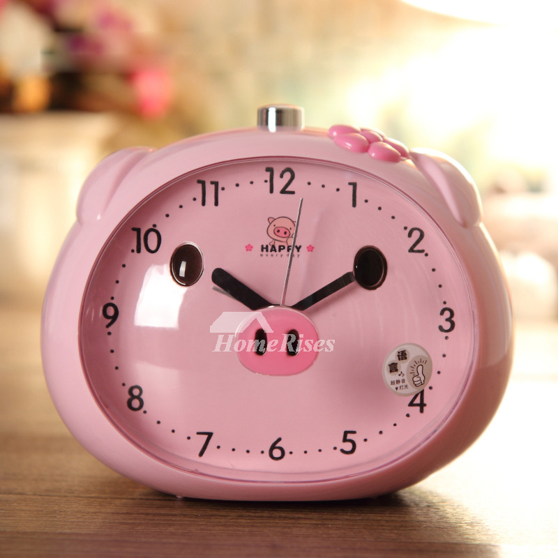 Funny Alarm Clocks ABS Plastic Cute Modern Silent BluePink Best