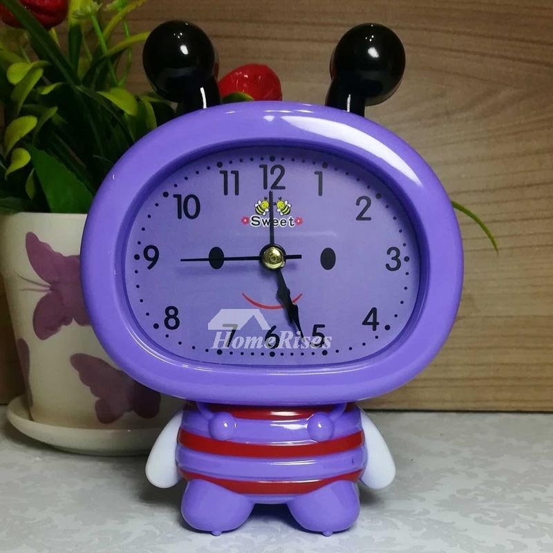cheap kitchen hardware rustic art kids alarm clock pink/blue/purple abs plastic cute silent ...