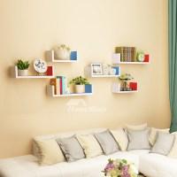 Wall Book Shelves Wooden Living Room Modern Design Rectangular