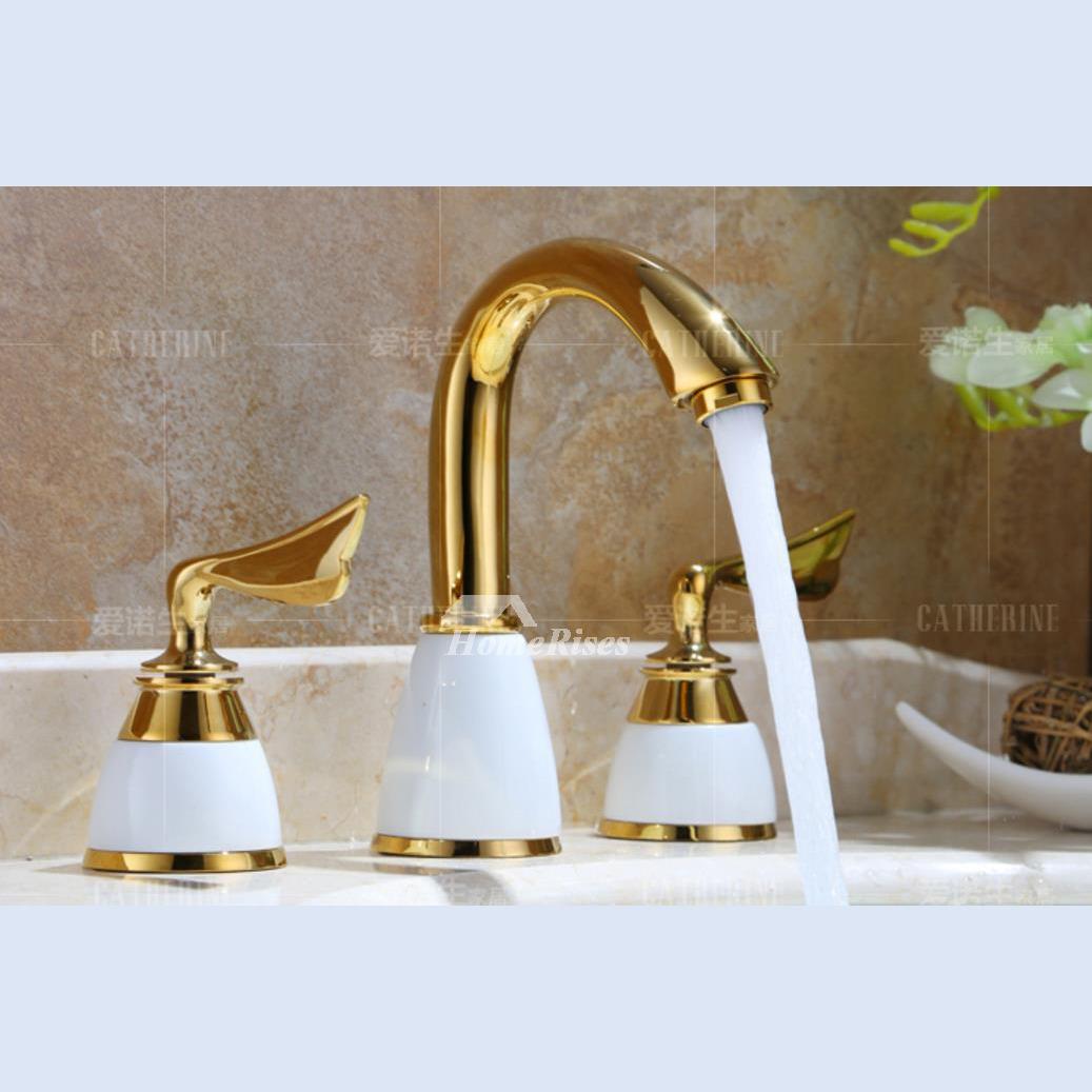 2 Handle Bathroom Faucet Gold Ceramic 3 Hole Polished