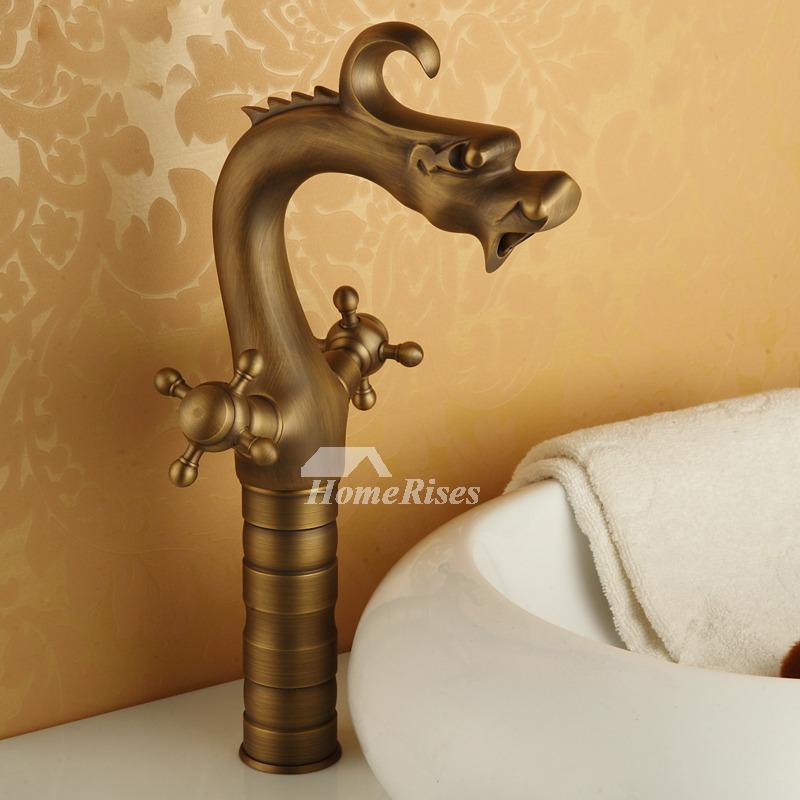 two handles golden brushed vintage bathroom sink faucets