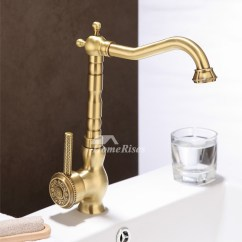Antique Kitchen Faucets Floor Tiles Ideas Single Handle Carved Gold Vessel Rotatable