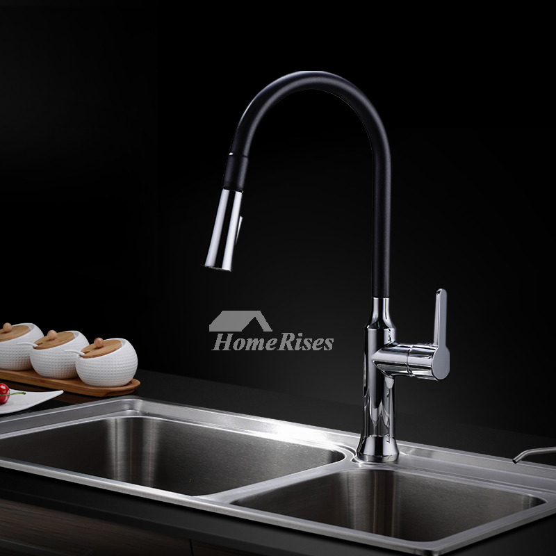 Pull Out Kitchen Faucet Black One Hole Centerset Modern