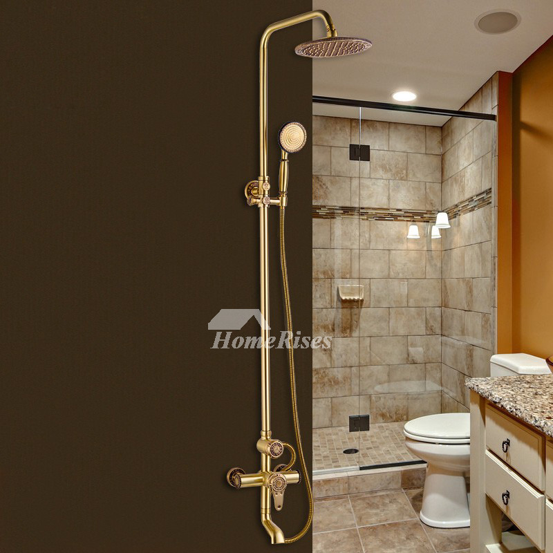 antique brass tub shower faucet wall mount gold black single handle