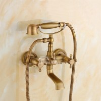 Clawfoot Tub Faucet 2 Hole Wall Mount Antique Brass Two ...