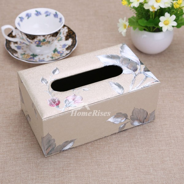 Rectangular Tissue Box Cover Leather Modern Car Decorative