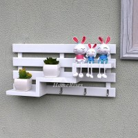Wooden Wall Hooks Decorative Wall Mounted Key Coat Rack Hanger