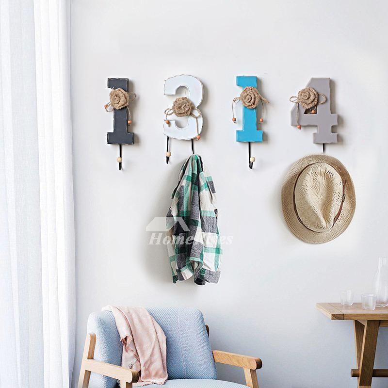 Unique Wall Hooks Letter Rustic Key Coat Decorative Hat
