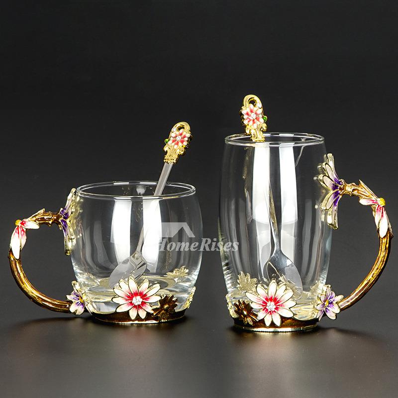 Glass Coffee Cups Set Enamel Carved Cafe Best Mug Unique