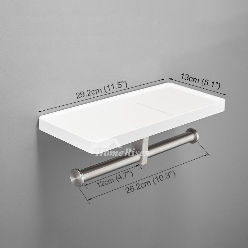Modern White Toilet Paper Holder With Shelf  Bathroom Towel Hook