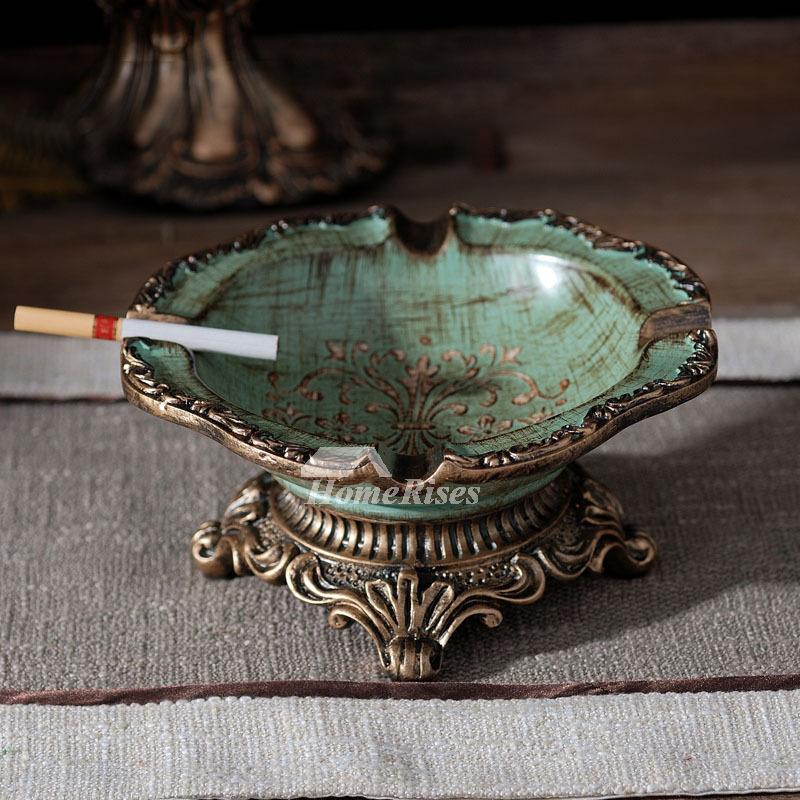 GreenBlue Resin Carved Vintage Decorative Unique Retro Ashtrays