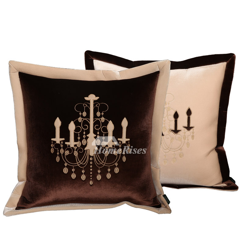 Unique Gold Throw Pillows Brown White Velvet Decorative Modern Pillow Core Not Included
