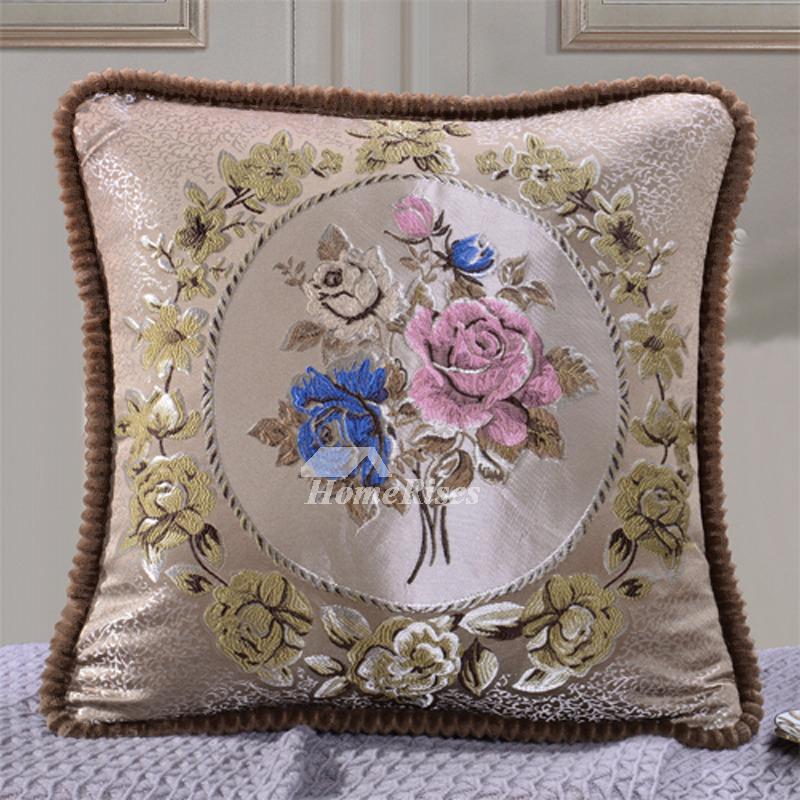 Big Couch Pillows CreamBurgundyBlue Square Decorative