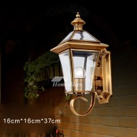 Outdoor Wall Sconce Lantern Exterior Brass Glass ...