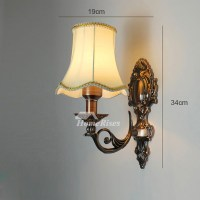 Vintage Wall Sconces Lighting Alloy Glass Fabric Shade