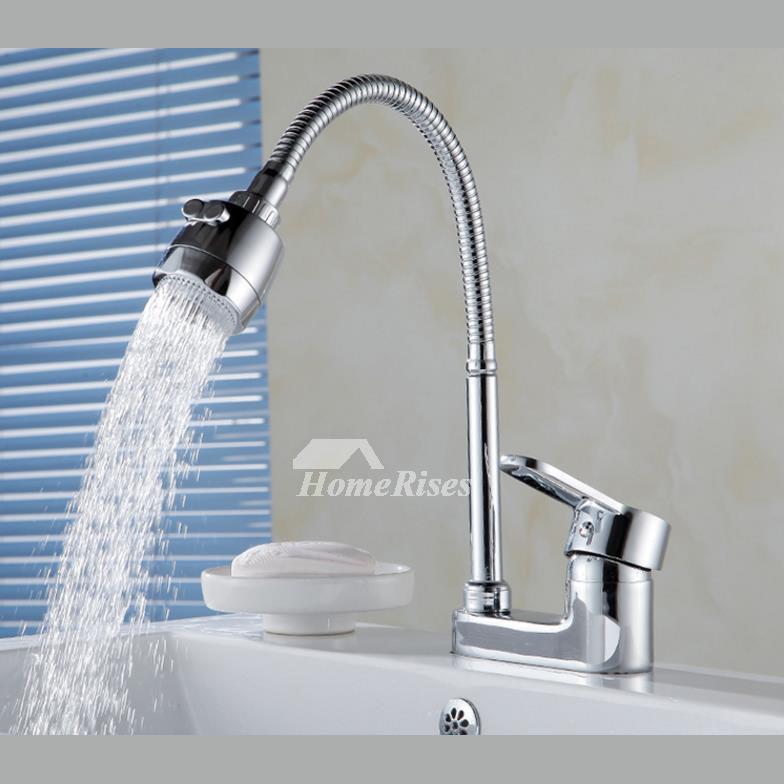 2 hole kitchen faucet rotatable silver unique chrome brass best