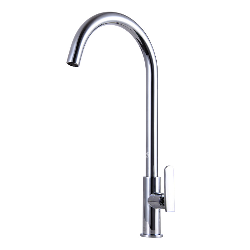 Cheap Modern Kitchen Faucets Silver Brass Gooseneck Single