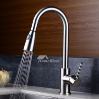 Pull Out Bathroom Faucet Brushed Nickel Gooseneck Brass 1 Hole