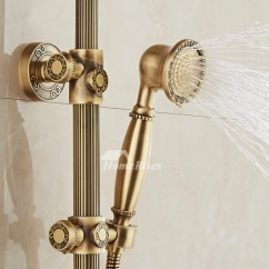 Antique Kitchen Faucet Wooden Sink Exposed Shower Wall Mount Brass Gold Single ...