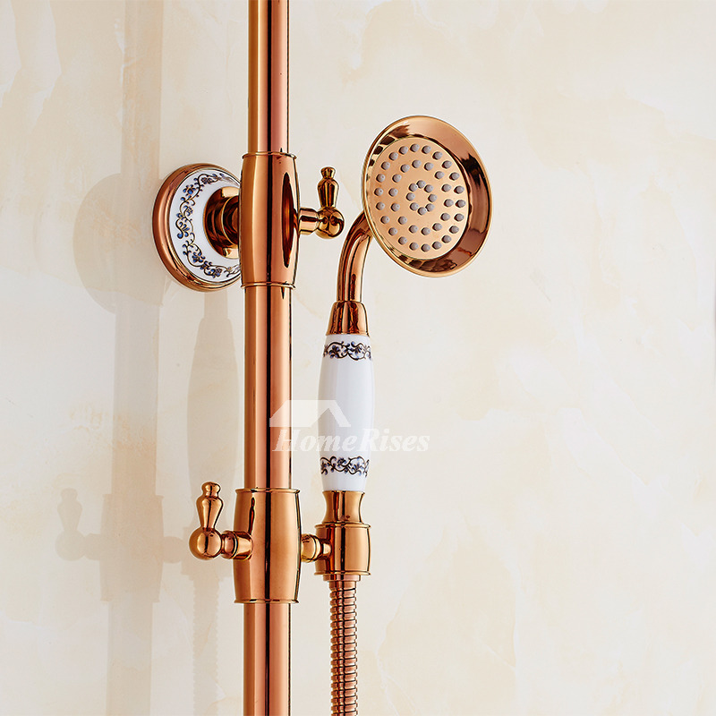 Single Handle Shower Faucet Rose Gold Wall Mount Smooth Solid